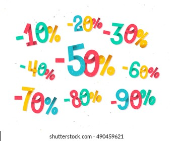 Colorful discount percentages, fun  childish folded paper style numbers for sales promotions and discounts in retail industry