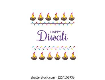 Colorful diwali celebration clay lamps lit