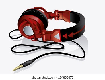 colorful DJ headphones red style