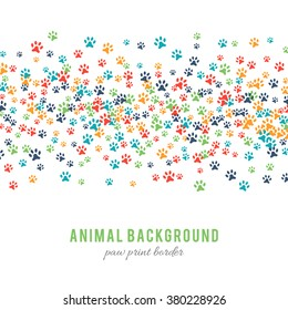 Colorful dog paw prints background isolated on white background. Abstract animal graphic. Vector illustration