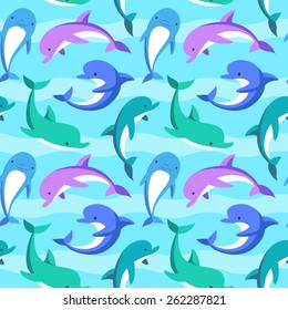Colorful dolphins playing in the waves. Vector seamless pattern.