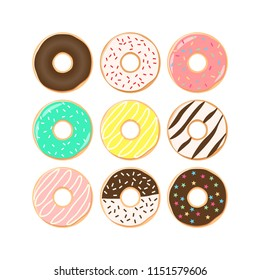 Colorful donuts cartoon set. Doughnuts with sprinkles, pink, chocolate, turquoise icing clipart set.
