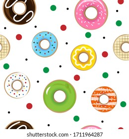 Colorful Donuts Seamless Pattern Wallpaper. Various of Donuts flavor isolated in white background for fabric textile.