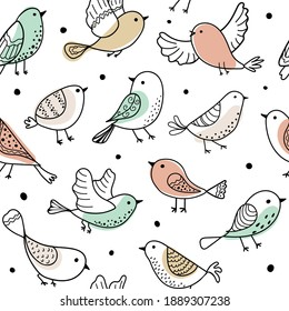 Colorful doodle bird seamless pattern. Collection of flat hand drawn birds. Cute background for textile print, wrapping paper. Vector illustration.