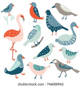 Colorful doodle bird set. Collection of cute hand drawn birds: dove, flamingo, crow