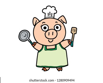 colorful doodle cartoon picture of smiling female pig in green dress with cook hat holding pan and turner