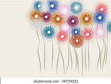 Colorful doodle flowers background vector illustration