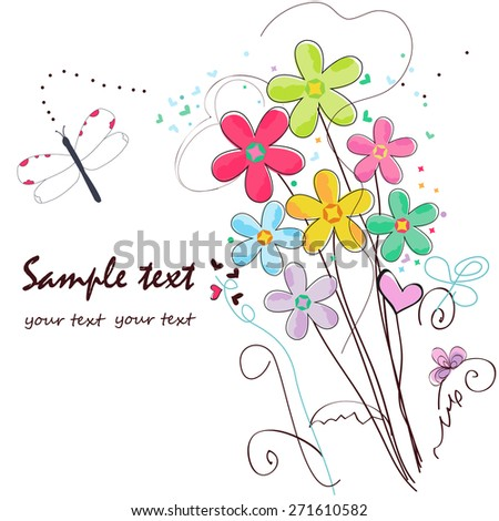 Colorful doodle flowers border greeting card stock vector royalty colorful doodle flowers border greeting card m4hsunfo