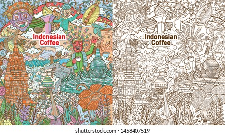 colorful doodle indonesian java coffe colorful illustration with color background