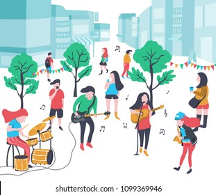 colorful doodle music band performing in the park  with drum, base guitar,  guitar , singer, and saxophone , city background, illustration, vector