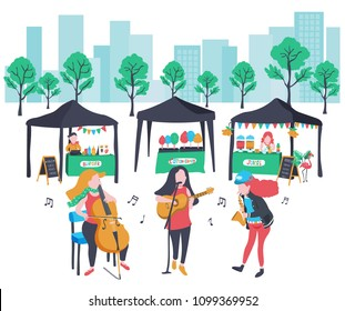 colorful doodle music band performing in music festival with cello, guitar , singer, and saxophone , surrounded with vendors, city background, illustration, vector