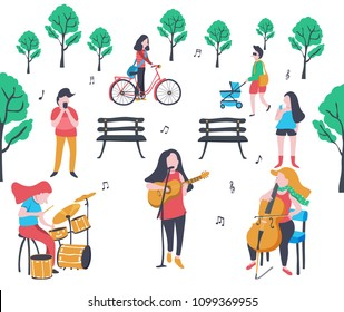 colorful doodle music band performing in the park  with drum, guitar singer and cello, surrounded with trees and crowd , illustration, vector