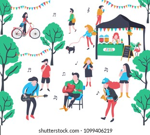 Colorful doodle music band performing in the park, with base guitar, guitar, and saxophone, surrounded with trees and crowd, illustration, vector