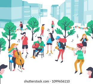 colorful doodle music band performing in the park  with cello, guitar, saxophone, and trumpet , city background, illustration, vector