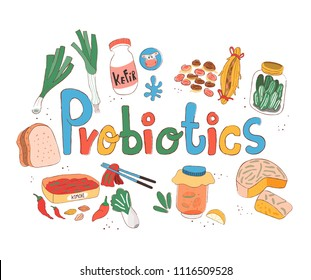 Colorful doodle probiotics rich foods on white background, illustration, vector