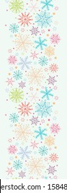 Colorful Doodle Snowflakes Vertical Seamless Pattern Border