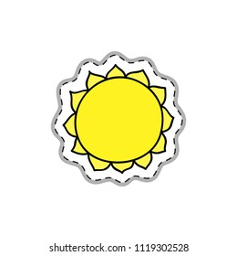 Colorful doodle sticker or patch with sun isolated on white background.