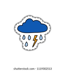 Colorful doodle sticker or patch with thunderstorm isolated on white background.