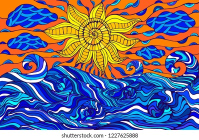 Colorful doodle sun, clouds and ocean waves. Fantastic surreal sea landscape. Vector hand drawn illustration.