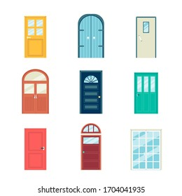 Colorful door set - different styles and shapes of doors isolated on white background. Arched, rectangle, double and other front doorways - flat vector illustration.