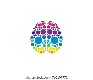Colorful Dot Brain Icon Logo Design Element