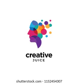 Colorful dotted circles human head logo for creative