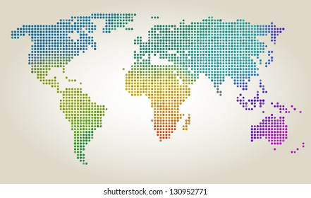 Colorful dotted world map, vector illustration