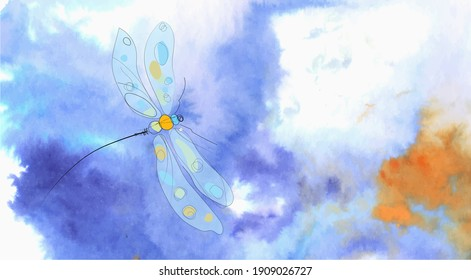 Colorful dragonfly on a trendy inkscape sky. Bue, violets and orange colors. Fantasy background.