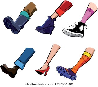 Colorful drawing of different shoes on the legs.