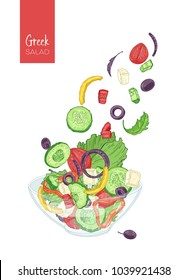 Colorful drawing of greek salad and its ingredients. Tomato, cucumber, olive, feta cheese, onion, bell pepper pieces and slices, lettuce leaves thrown out of glass bowl. Realistic vector illustration.