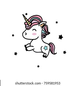 colorful drawing with unicorns with black stars on a white background