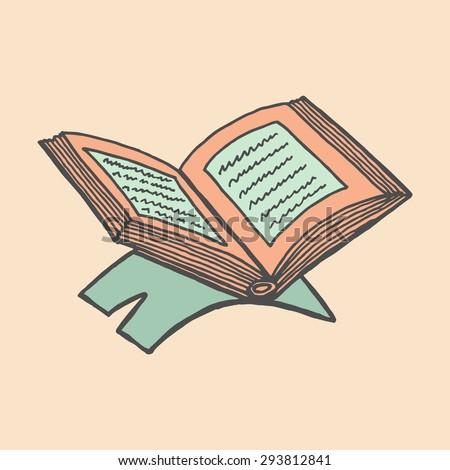 colorful drawings koran book text hand stock vector royalty free