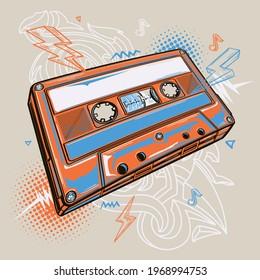 Colorful drawn audio cassette music design