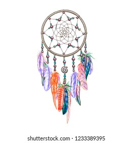Colorful dreamcatcher and feathers isolated on white background. Native american indian amulet. Colorful vector illustration