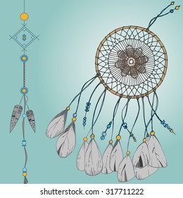 Colorful dreamcatcher. vector drawing hand
