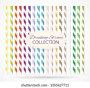 Colorful drinking straws collection. vector design. Stripped plastic straws. Realistic style.  Straws for beverage.