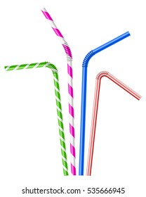 Colorful drinking straws set