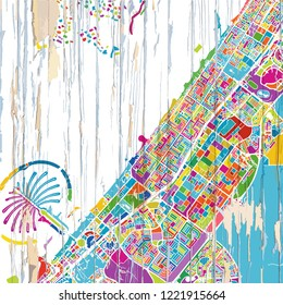 Colorful Dubai map. Vintage map series.