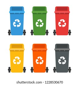 Colorful dumpsters set. Garbage cans. Ecology and recycling concept
