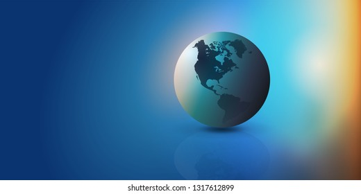 Colorful Earth Globe Design Layout - Applicable for Eco, Globalization. Global Business. Technology Concepts. Backdrops or Event Posters. Vector Template