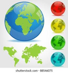 Colorful Earth Globes Illustration