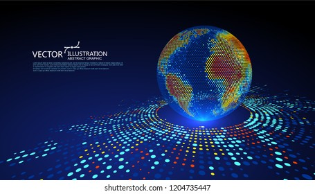 Colorful earth graphic design can be used for business infographics.