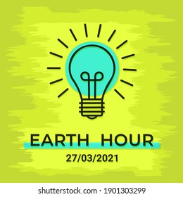 Colorful Earth Hour day poster for 2021. Concept saving electric energy. Green Light bulb in the form of earth. drawing flat design. Vector illustration.
