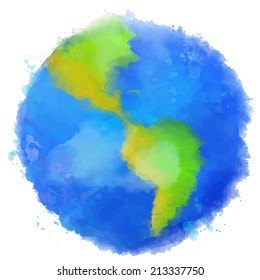 Colorful Earth illustration. Watercolor style with swashes, spots and splashes. Vector image.