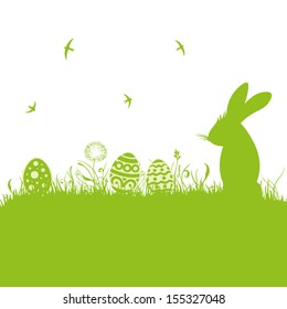 Colorful easter background, with easter bunny.