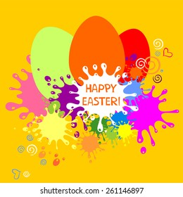 Colorful Easter card. Yellow blots background. Vector Illustration