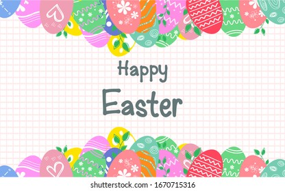 Colorful Easter eggs background with leaves vector illustration.