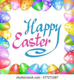 Colorful Easter eggs border for Easter holidays design. Vector illustration