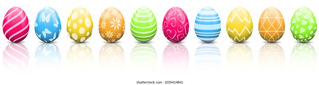 Colorful easter eggs set isolated