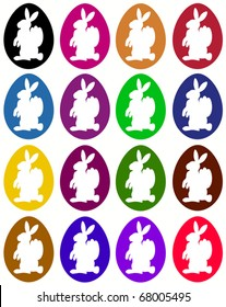 colorful easter eggs with white rabbit silhouettes
